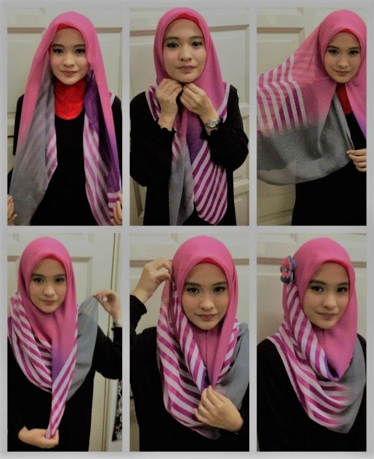 1 5 - 7 Tutorial Hijab Segi Empat Untuk Wajah Bulat Beserta Gambarnya