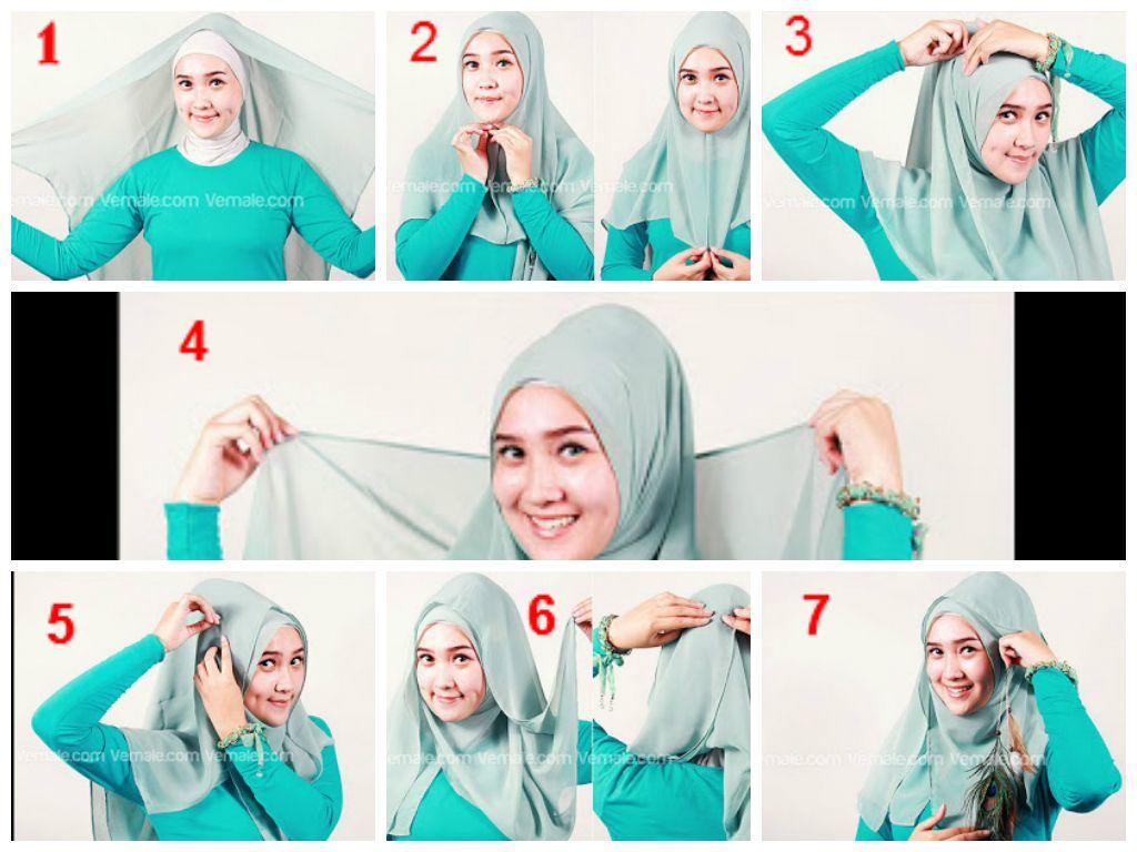 2 4 - Bisa Kamu Ikuti Nih, 7 Tutorial Hijab Segi Empat Simple Tanpa Ciput Beserta Gambarnya