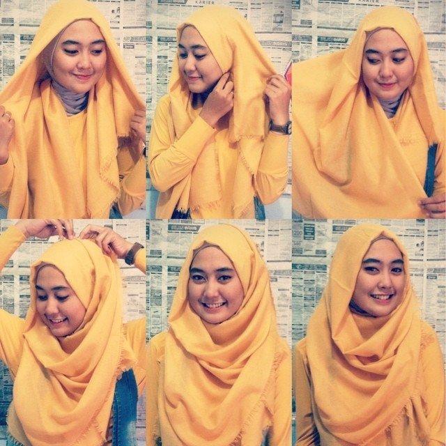 2 5 - 7 Tutorial Hijab Segi Empat Untuk Wajah Bulat Beserta Gambarnya