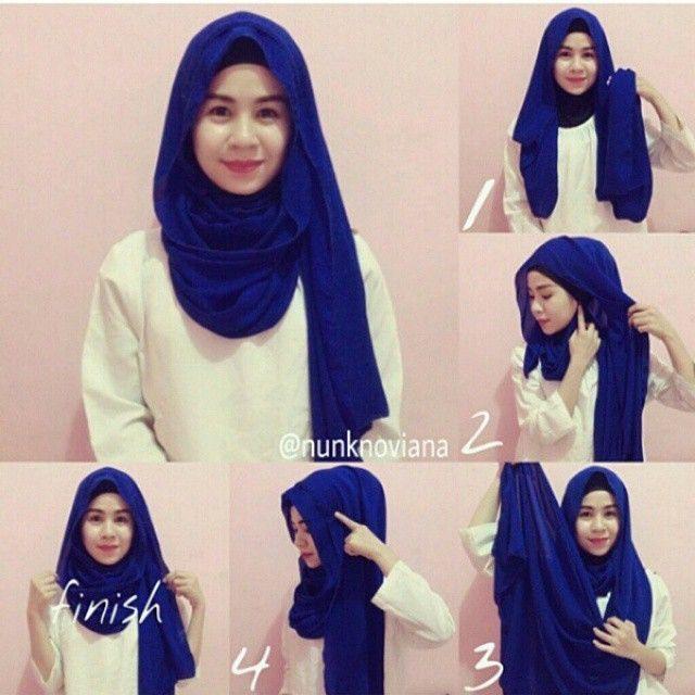 3 6 - 7 Tutorial Hijab Segi Empat Untuk Wajah Bulat Beserta Gambarnya