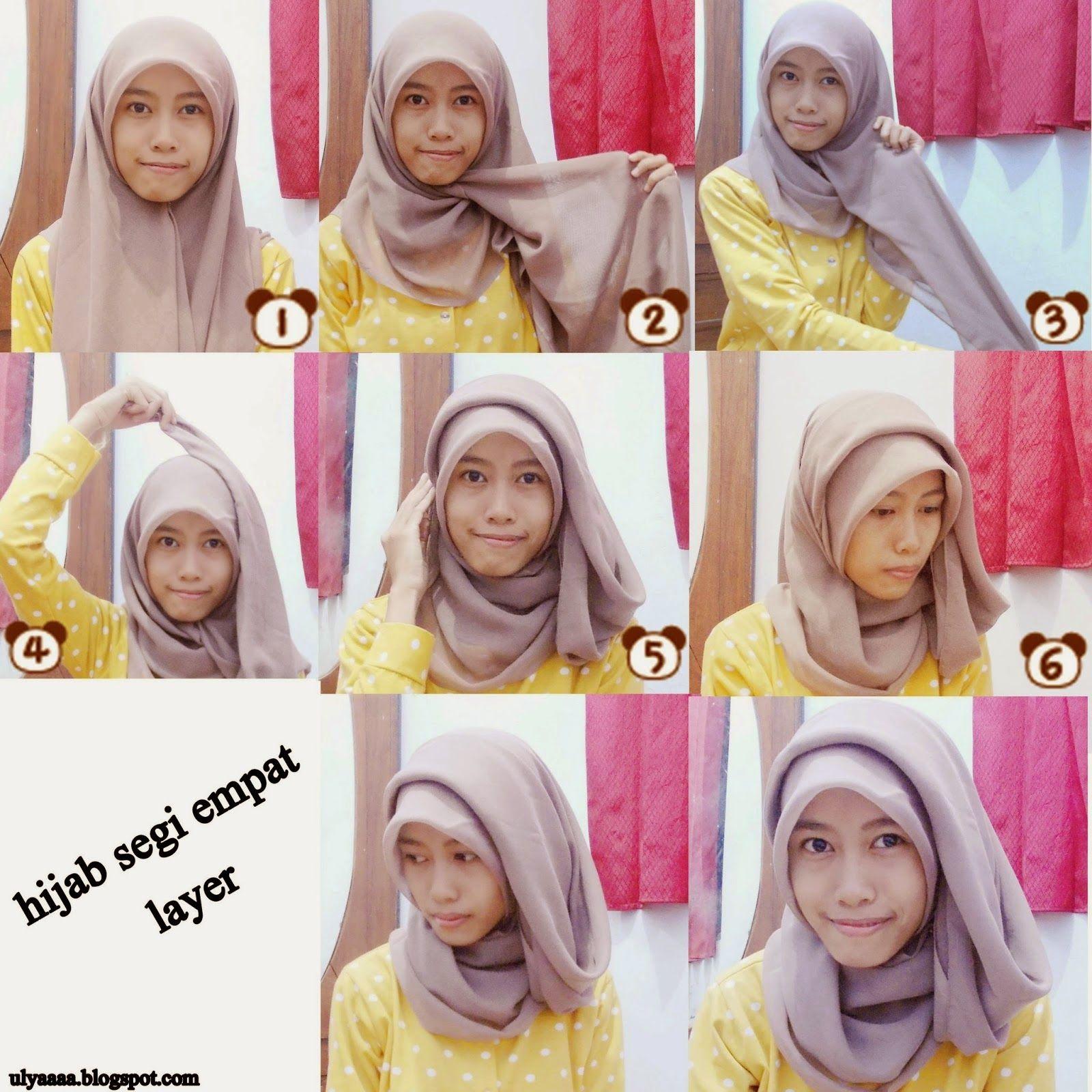 4 4 - Bisa Kamu Ikuti Nih, 7 Tutorial Hijab Segi Empat Simple Tanpa Ciput Beserta Gambarnya
