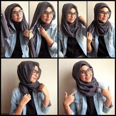 4 6 - 7 Tutorial Hijab Segi Empat Untuk Wajah Bulat Beserta Gambarnya