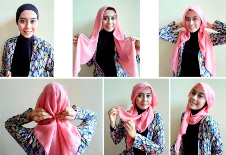 5 5 - 7 Tutorial Hijab Segi Empat Untuk Wajah Bulat Beserta Gambarnya