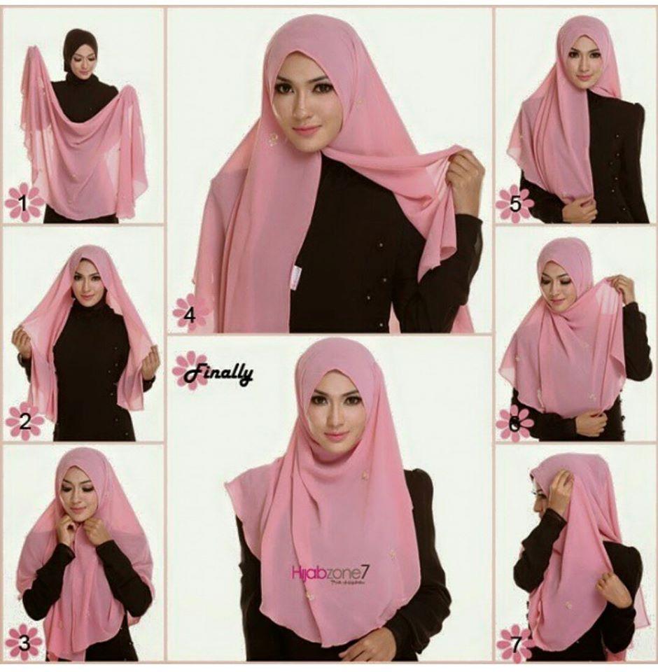6 4 - Bisa Kamu Ikuti Nih, 7 Tutorial Hijab Segi Empat Simple Tanpa Ciput Beserta Gambarnya