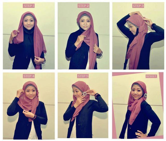 6 6 - 7 Tutorial Hijab Segi Empat Untuk Wajah Bulat Beserta Gambarnya