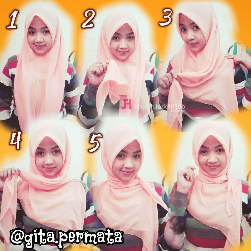 7 3 - Bisa Kamu Ikuti Nih, 7 Tutorial Hijab Segi Empat Simple Tanpa Ciput Beserta Gambarnya