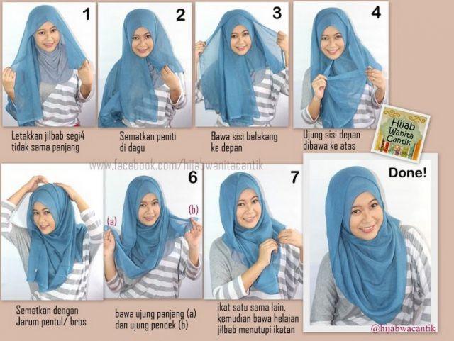 7 5 - 7 Tutorial Hijab Segi Empat Untuk Wajah Bulat Beserta Gambarnya