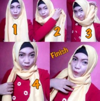Hijab Pashmina Model 1 - Langkah-langkah Gambar Tutorial Hijab Yang Simpel Buat Hangout, Bisa Nih Kamu Coba