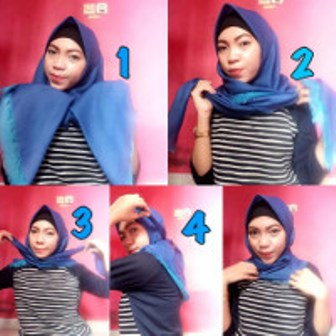 Hijab Segiempat Model 1 - Langkah-langkah Gambar Tutorial Hijab Yang Simpel Buat Hangout, Bisa Nih Kamu Coba