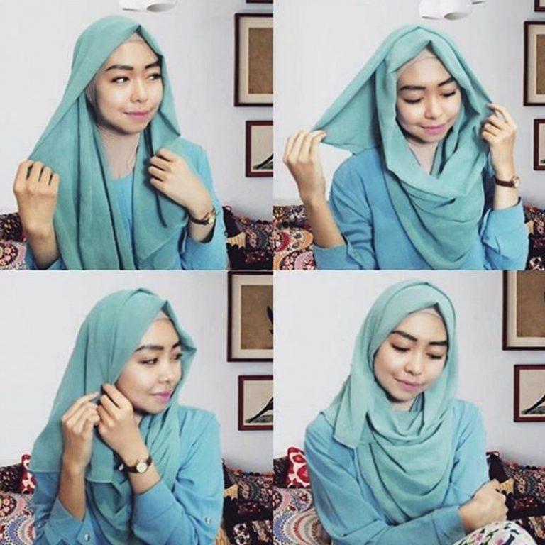 Hijab Segiempat Model 5 - Langkah-langkah Gambar Tutorial Hijab Yang Simpel Buat Hangout, Bisa Nih Kamu Coba