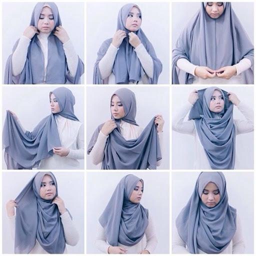 1. Hijab Simpel Menutup Dada - Buat Ngampus, 5 Tutorial Hijab yang Simpel dan Mudah Ini Pas Kamu Tiru