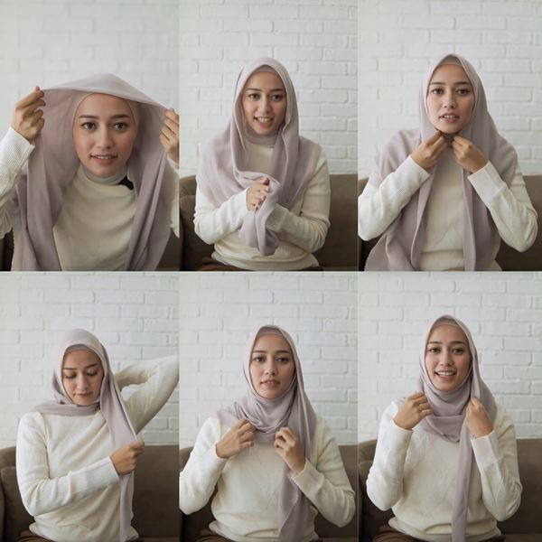 1. Segi Empat Super Simpel ala Mega Sikanti - Bisa Dicontek Nih, 7 Tutorial Hijab Segi Empat yang Simpel Banget