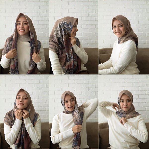 2. Model Hijab Segi Empat Lainnya ala Mega Iskanti - Bisa Dicontek Nih, 7 Tutorial Hijab Segi Empat yang Simpel Banget