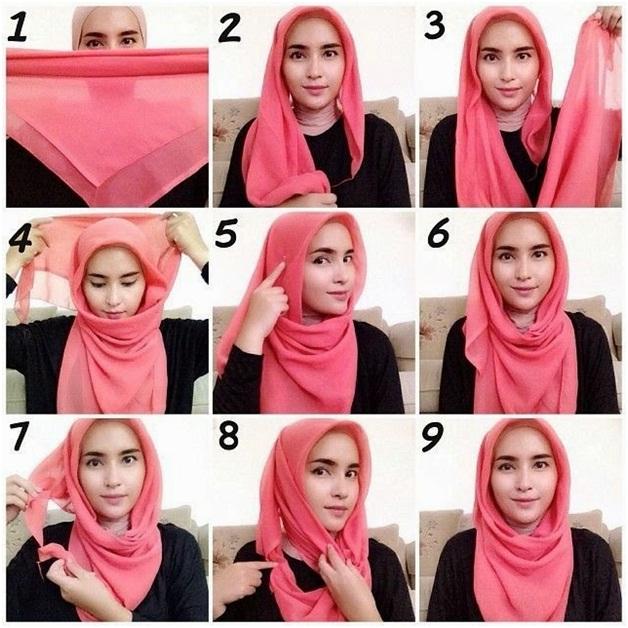 2. Model Segiempat Kekinian - Buat Ngampus, 5 Tutorial Hijab yang Simpel dan Mudah Ini Pas Kamu Tiru