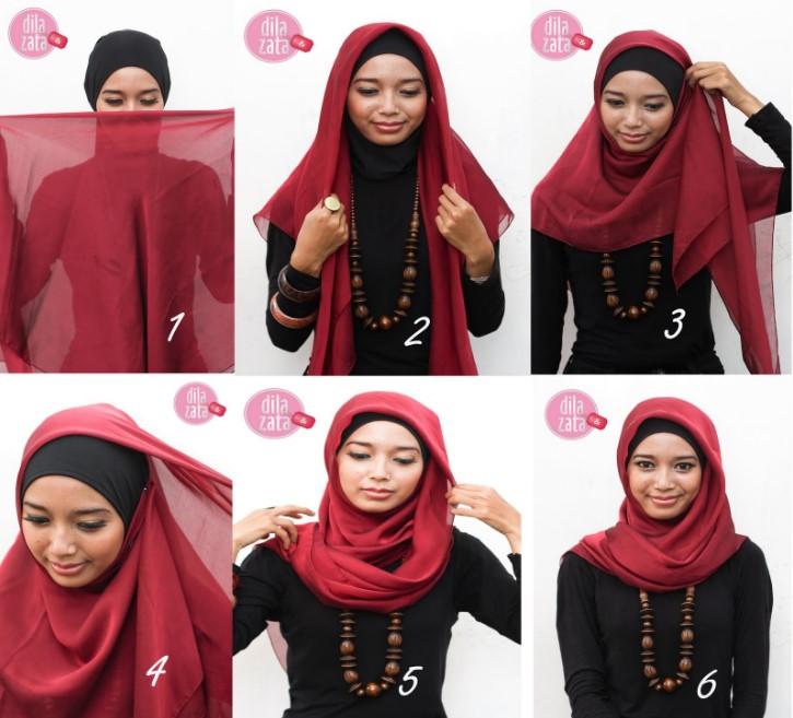 3. Model Segiempat Paris Kombinasi - Buat Ngampus, 5 Tutorial Hijab yang Simpel dan Mudah Ini Pas Kamu Tiru