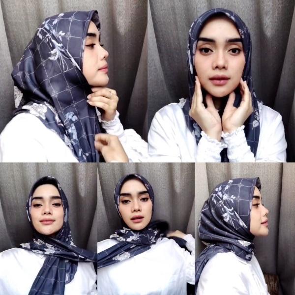 5. Tutorial Hijab Tanpa Pin ala Athieqa Asy Syahidah - Bisa Dicontek Nih, 7 Tutorial Hijab Segi Empat yang Simpel Banget