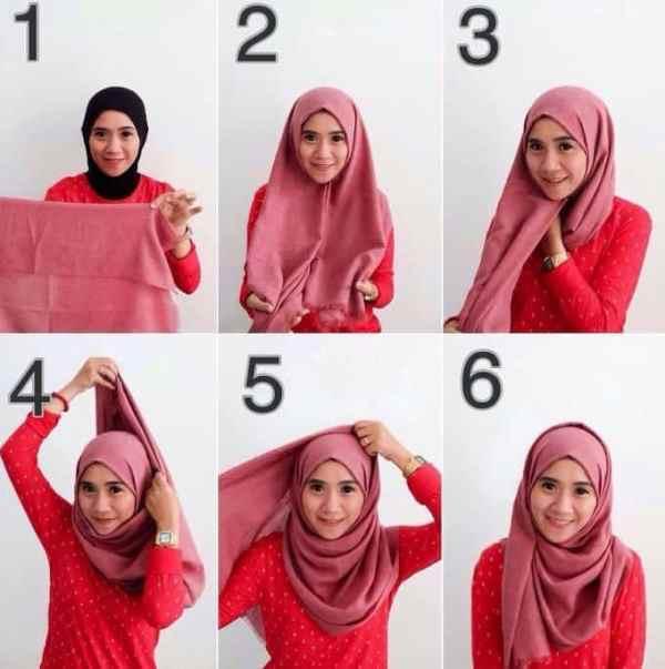 7. Hijab Segi Empat dengan model Pashmina - Bisa Dicontek Nih, 7 Tutorial Hijab Segi Empat yang Simpel Banget