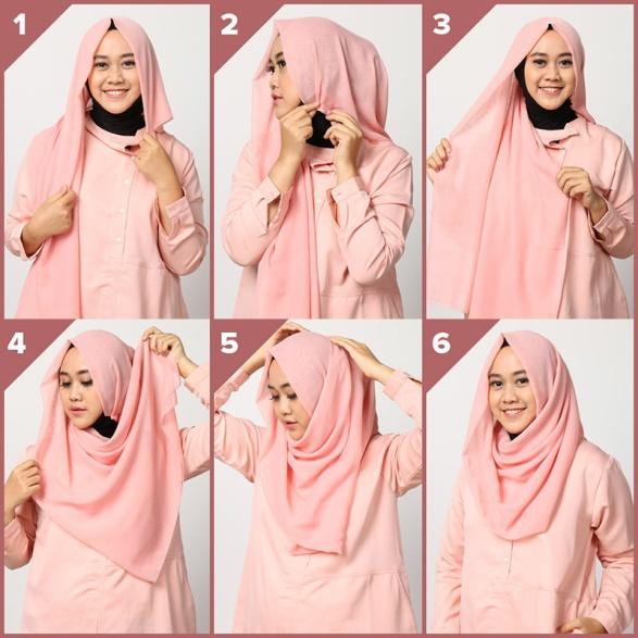 1. Tutorial 1 - Cocok Buat Yang Baru Belajar, 6 Tutorial Hijab Segiempat Yang Mudah