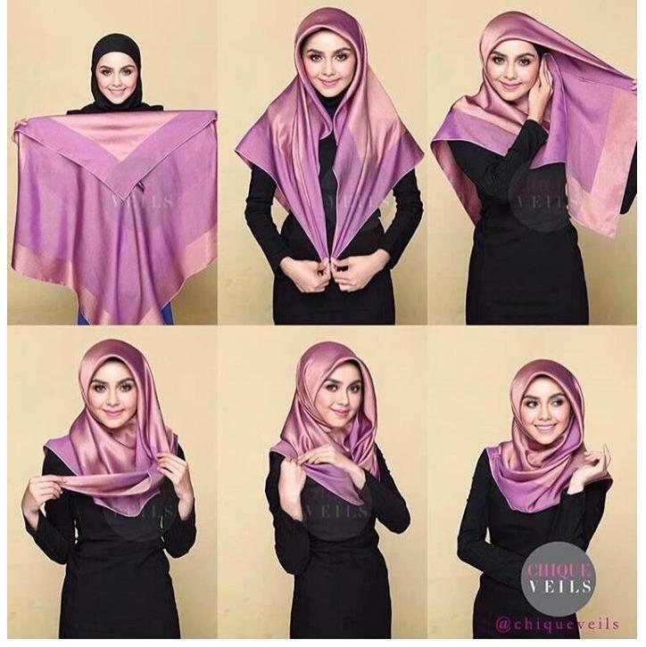 2. Tutorial 2 - Cocok Buat Yang Baru Belajar, 6 Tutorial Hijab Segiempat Yang Mudah