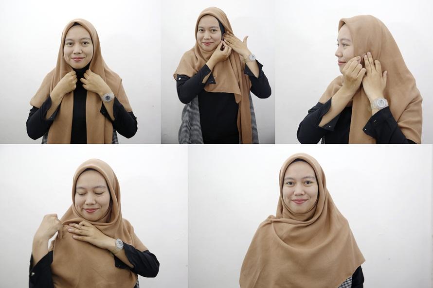 3. Tutorial 3 - Cocok Buat Yang Baru Belajar, 6 Tutorial Hijab Segiempat Yang Mudah
