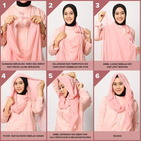 4. Tutorial 4 - Cocok Buat Yang Baru Belajar, 6 Tutorial Hijab Segiempat Yang Mudah